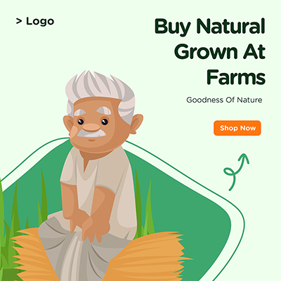 Banner design for buy natural grown at farms