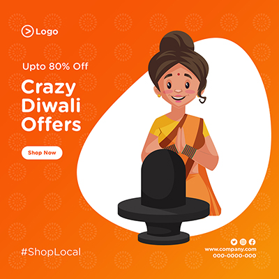 Banner design with crazy Diwali offers