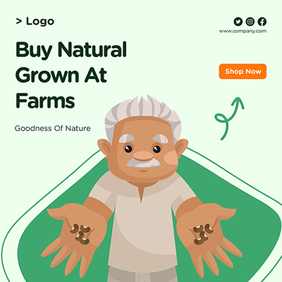 Banner for buy natural grown at farms