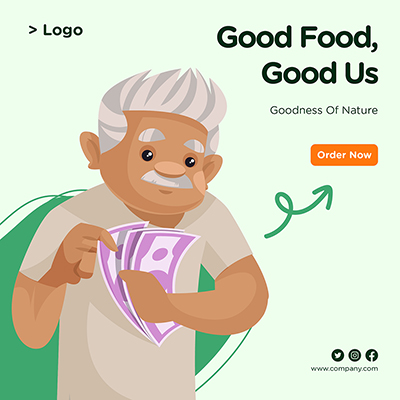 Banner for good food and good us template