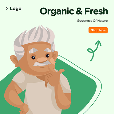 Banner design goodness of nature organic and fresh