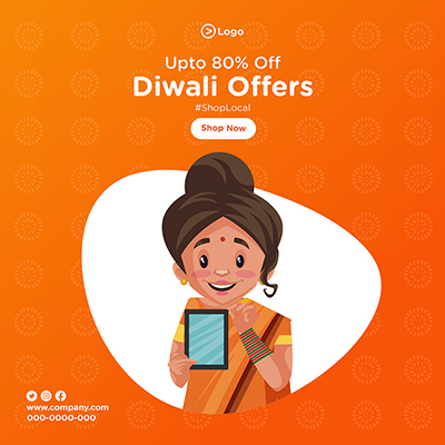 Banner template with Diwali offers