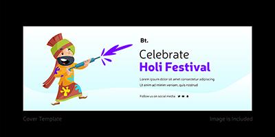 Celebrate Holi festival cover page template 9 small