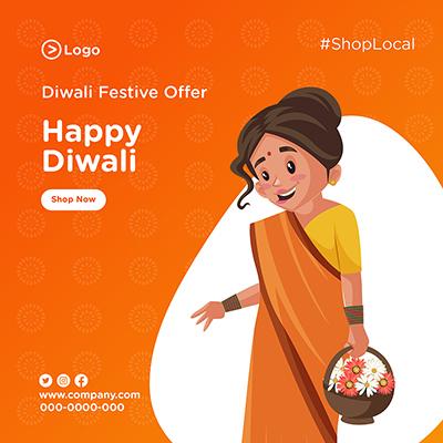 Diwali festival offer banner design
