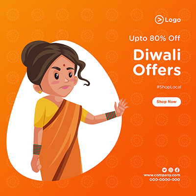 Diwali offers with template banner