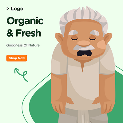 Goodness of nature organic and fresh banner design
