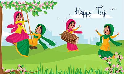 Happy Teej banner design