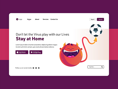 Landing page design of stay at home
