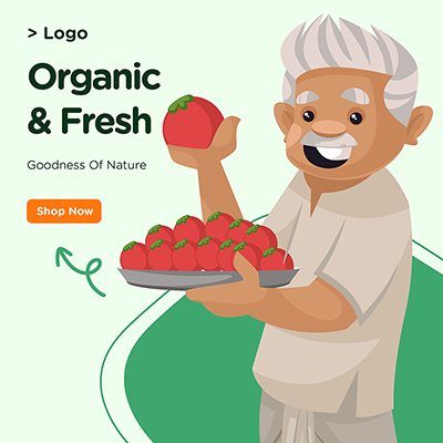 Organic and fresh goodness of nature banner design