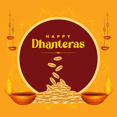 Template banner of happy Dhanteras Indian festival