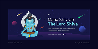 The lord shiva with maha Shivratri cover page template