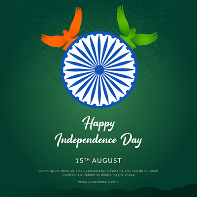 Banner template for happy independence day on 15 august