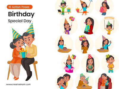 Birthday- Special Day Character Vector Bundle