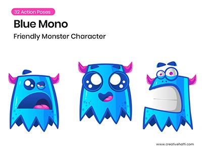 Blue Monster- Friendly Monster Character Vector Bundle