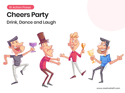 Cheers Party- Drink, Dance and Laugh Vector Bundle