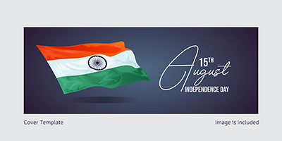 Cover template of independence day with Indian flag