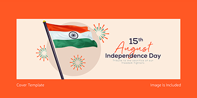 Coverpage template of independence day with Indian flag