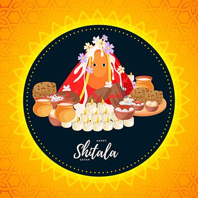 Happy Shitala Satam banner template design
