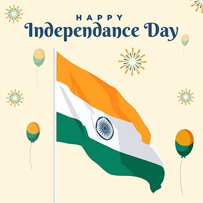 Happy independence day banner template with Indian flag