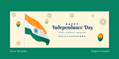 Happy independence day with Indian flag cover template