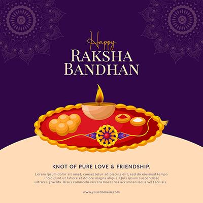 Happy raksha bandhan banner design template