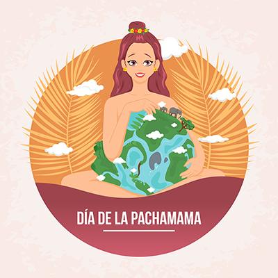 Illustration of dia de la pachamama banner template