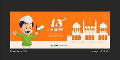 Independence day facebook cover template design
