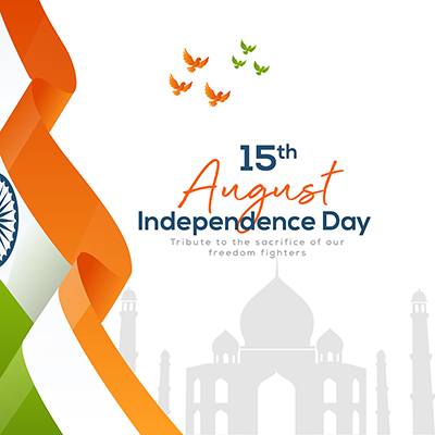 Independence day on 15 august banner template