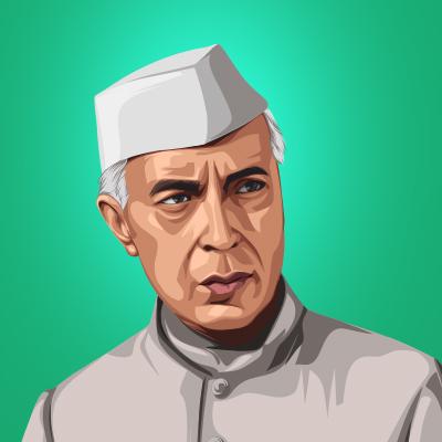 Jawaharlal Nehru Former Prime Minister of India Vector Illustration
