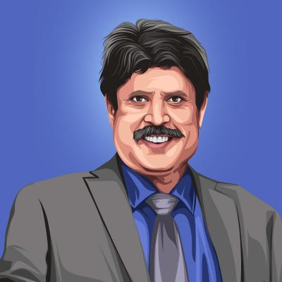 Kapil Dev Indian International Cricketer Vector Illustration