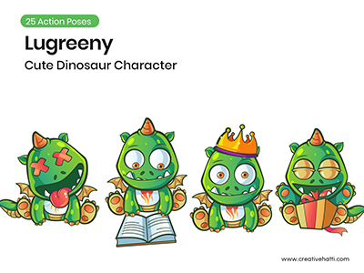 Lugreeny- Cute Dinosaur Character Vector Bundle