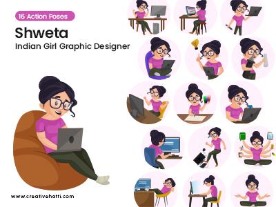 Shweta- Indian Girl Graphic Designer Vector Bundle