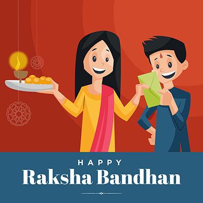 Template banner design for happy raksha bandhan