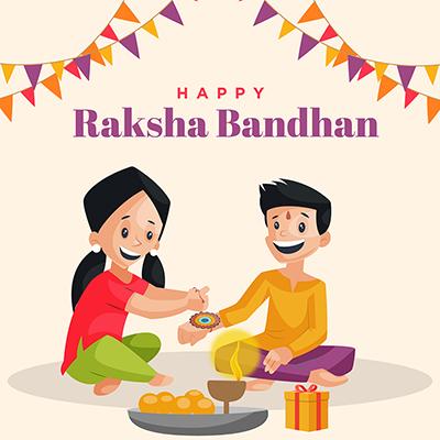 Template banner of happy raksha bandhan