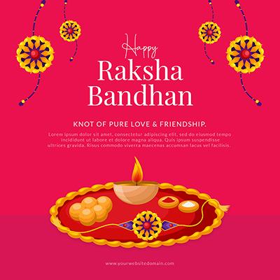 Template banner of happy raksha bandhan celebrations