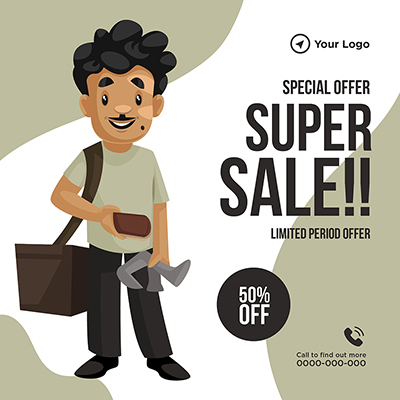 Template banner of super sale with special offer 34 small