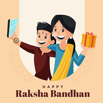 Template design banner of happy raksha bandhan
