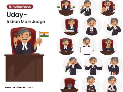 Uday- Indian Male Judge Character Vector Bundle